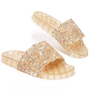 !! RESTOCKED !! Embellished Sparkle Slides – Gold